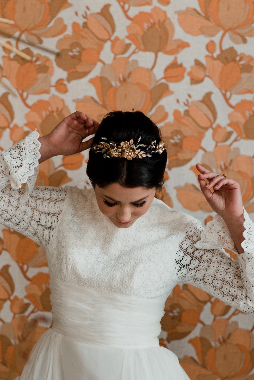 Bride Bridal Hair Accessory Vine Headpiece Gold 1970 Retro Mid Century Wedding Ideas Laura Martha Photography