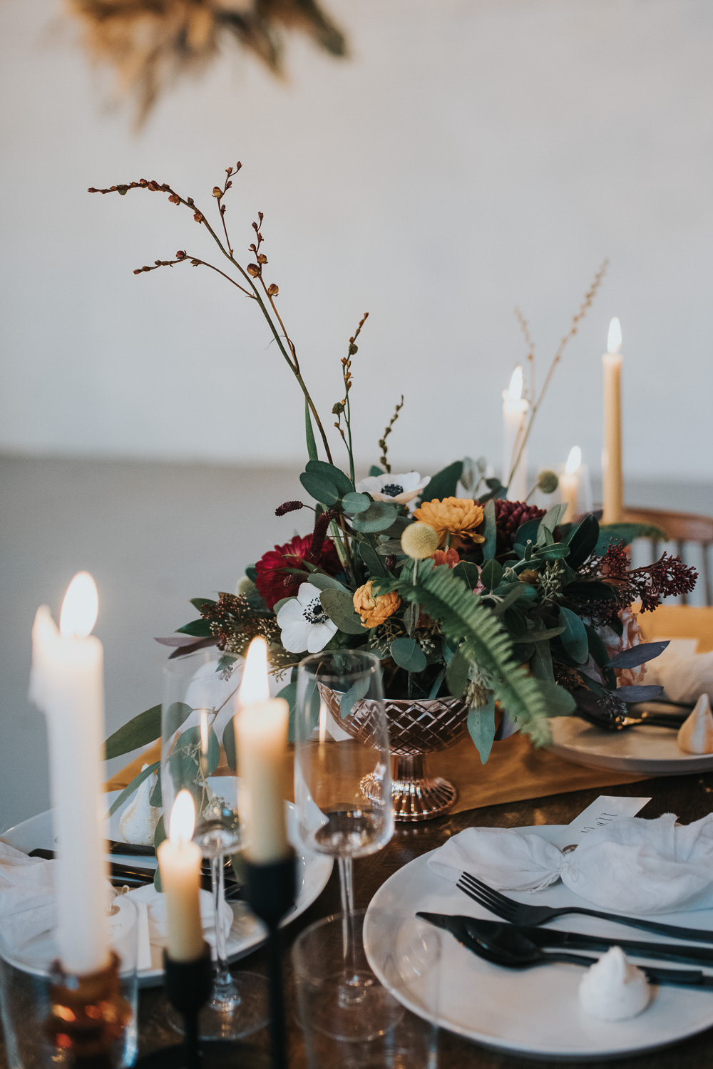 Candles Table Flowers Mustard Tan Orange Burgundy Calla Lily Pampas Grass Dahlia Chrysanthemum 1970 Retro Mid Century Wedding Ideas Laura Martha Photography