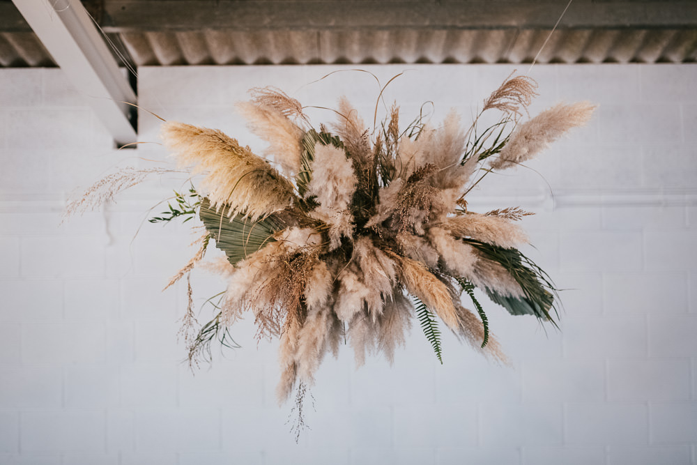 Pampas Grass Flower Cloud Installation Hanging Suspended 1970 Retro Mid Century Wedding Ideas Laura Martha Photography
