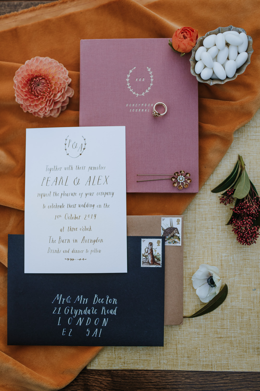 Stationery Invites Invitations Calligraphy Flat Lay Envelope 1970 Retro Mid Century Wedding Ideas Laura Martha Photography