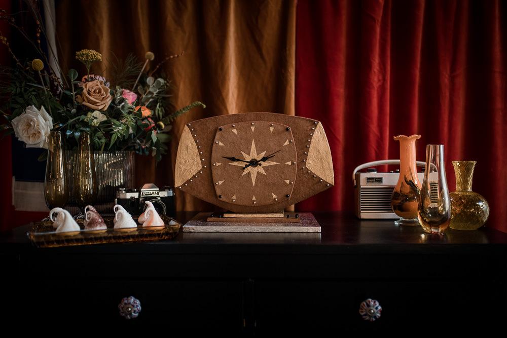Gingerbread Clock Dessert Table Treats Cakes 1970 Retro Mid Century Wedding Ideas Laura Martha Photography
