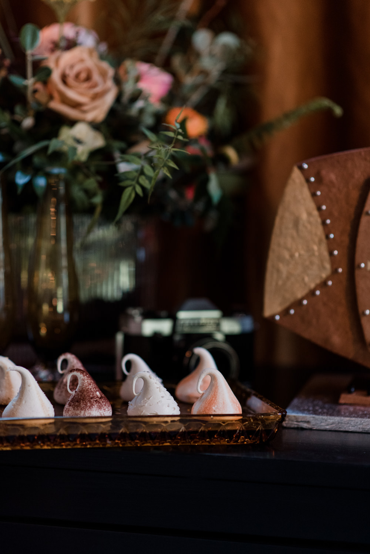 Dessert Table Treats Cakes Meringues 1970 Retro Mid Century Wedding Ideas Laura Martha Photography