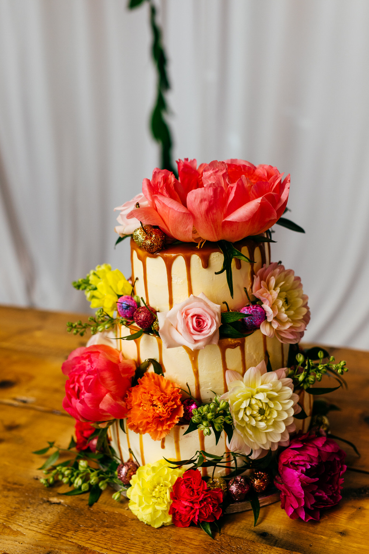 Drip Cake Floral Flowers Ash Barton Estate Wedding Jordanna Marston Photography