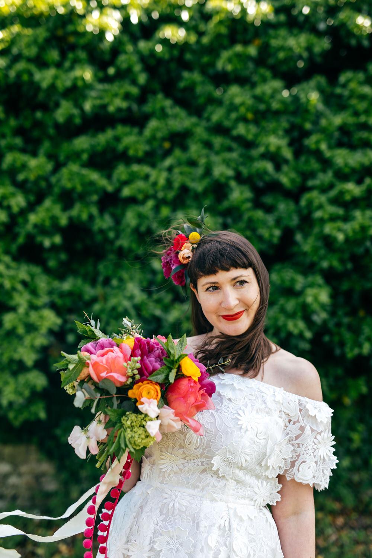 Bouquet Flowers Bride Bridal Colourful Pom Poms Peonies Ranunculus Craspedia Alliums Protea Pink Orange Ash Barton Estate Wedding Jordanna Marston Photography