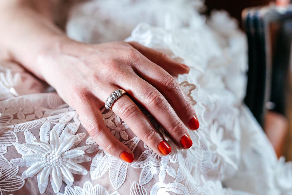 Bride Bridal Nails Ring Band Ash Barton Estate Wedding Jordanna Marston Photography