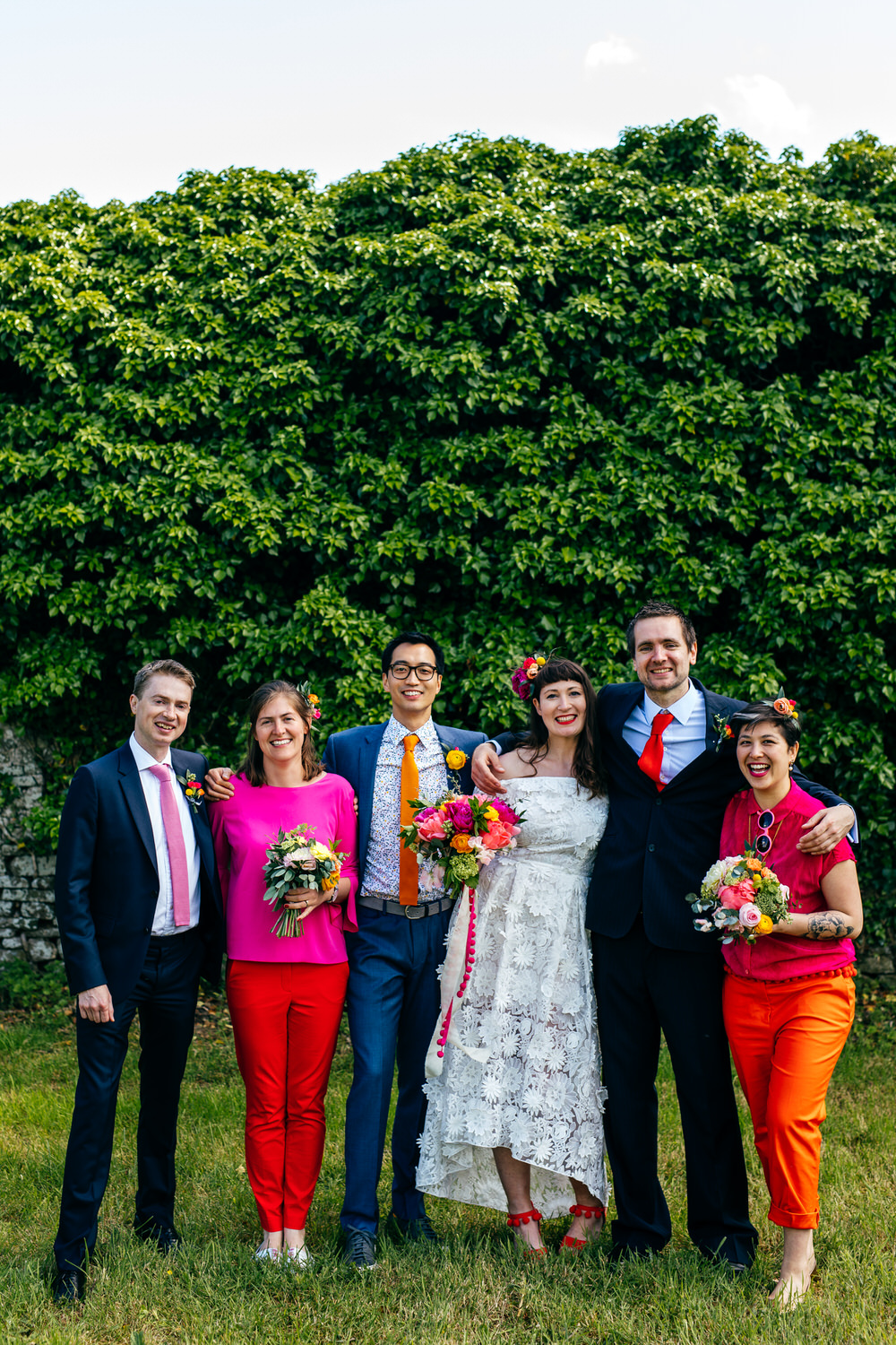 Bridesmaids Outfits Red Orange Trousers Ash Barton Estate Wedding Jordanna Marston Photography
