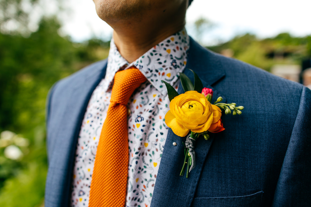 Groom Suit Orange Tie Floral Shirt Ranunculus Yellow Buttonhole Ash Barton Estate Wedding Jordanna Marston Photography