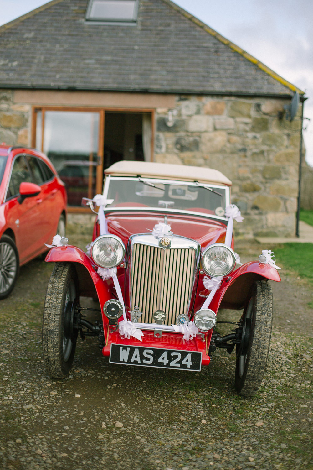 Vintage Car Bridal Transport Barn At Barra Castle Wedding Ceranna Photography