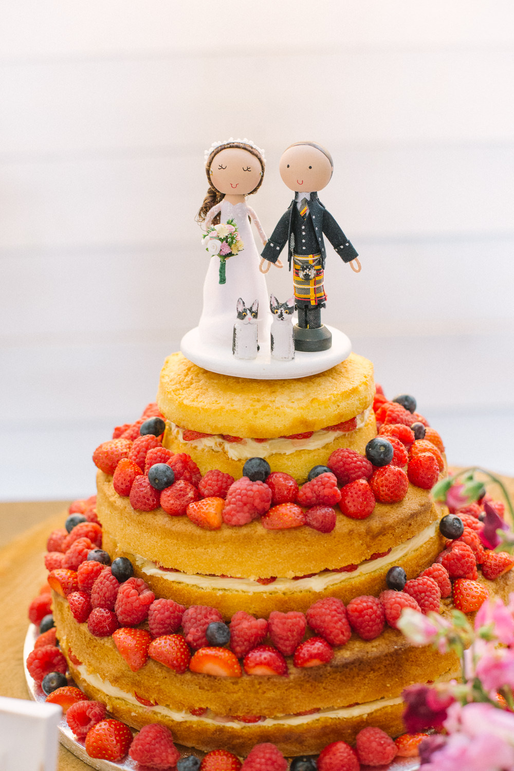 Naked Cake Victoria Sponge Fruit Couple Cake Topper Cartoon Berries Barn At Barra Castle Wedding Ceranna Photography