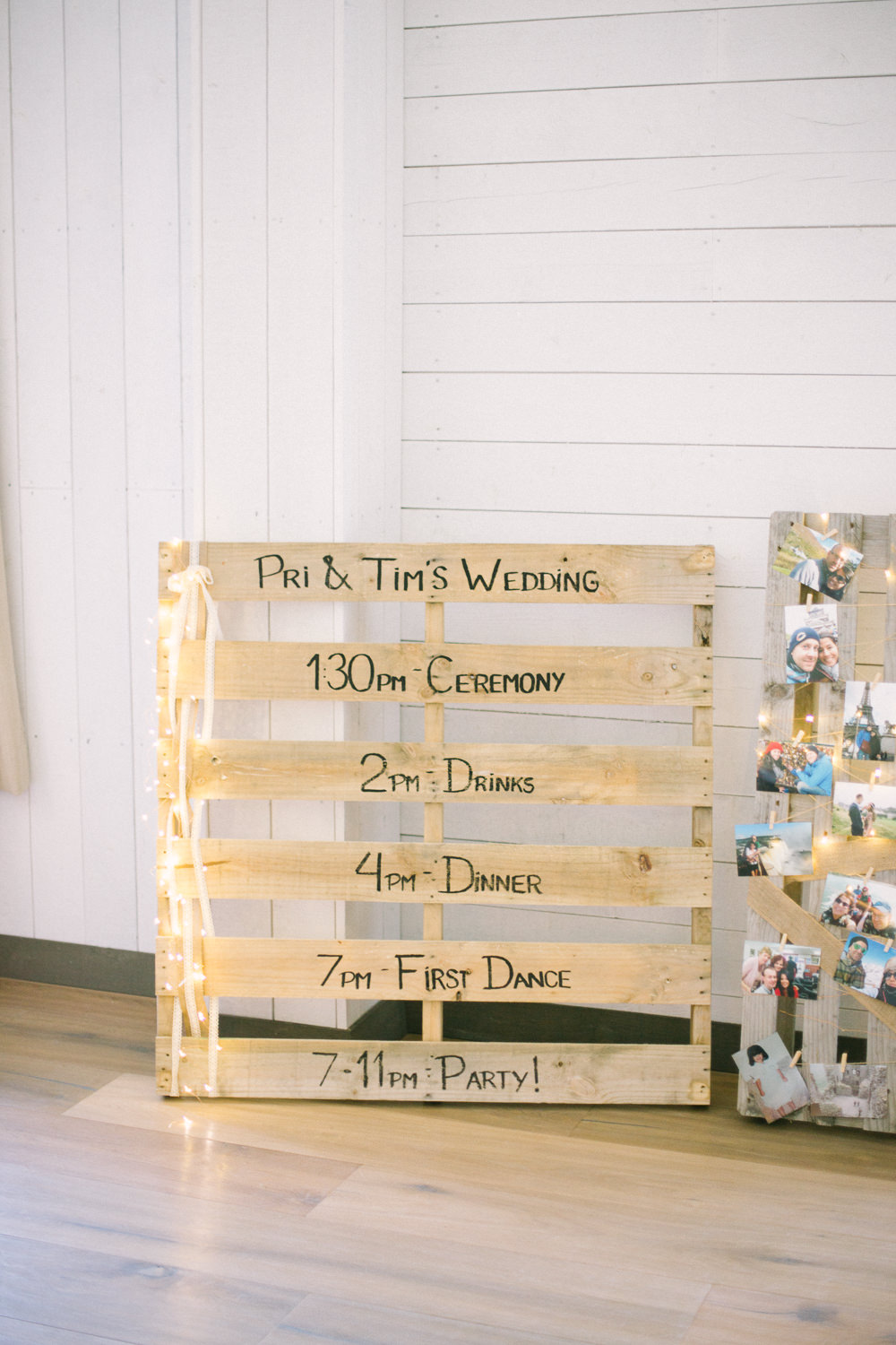 Pallet Sign Timings DIY Wooden Fairy Lights Barn At Barra Castle Wedding Ceranna Photography