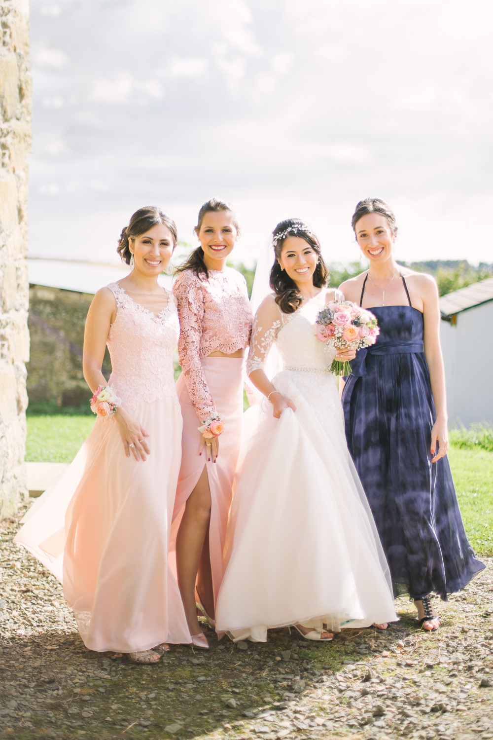 Bride Bridal V Neck Long Sleeve Embroidered Hair Vine Mismatched Bridesmaids Corsage Barn At Barra Castle Wedding Ceranna Photography