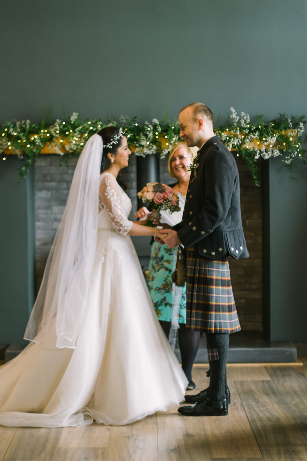 Bride Bridal V Neck Long Sleeve Embroidered Hair Vine Kilt Groom Barn At Barra Castle Wedding Ceranna Photography