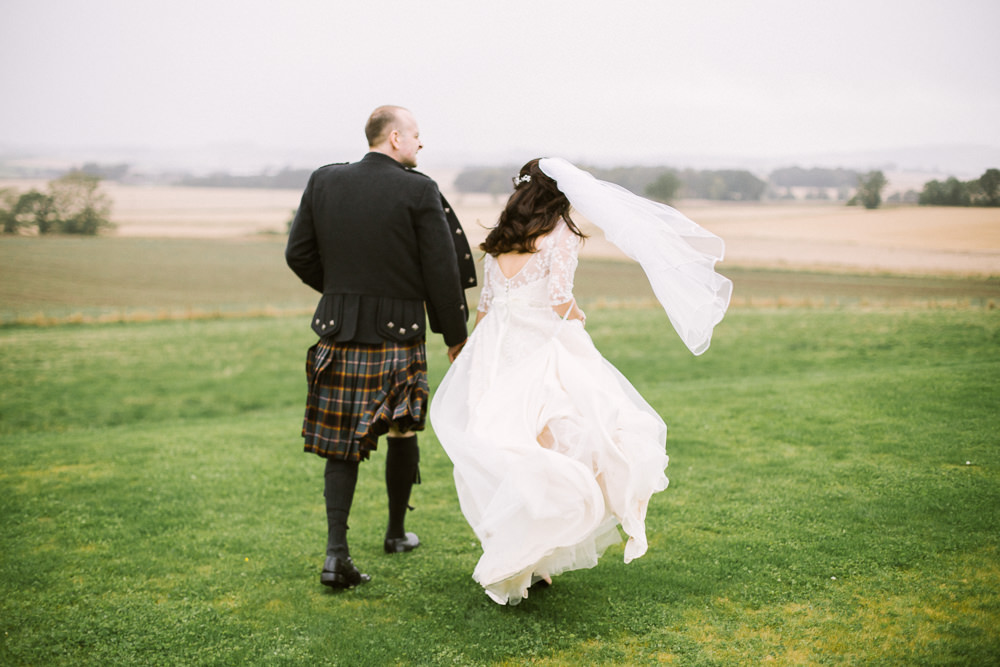 Bride Bridal V Neck Long Sleeve Embroidered Hair Vine Kilt Groom Veil Barn At Barra Castle Wedding Ceranna Photography