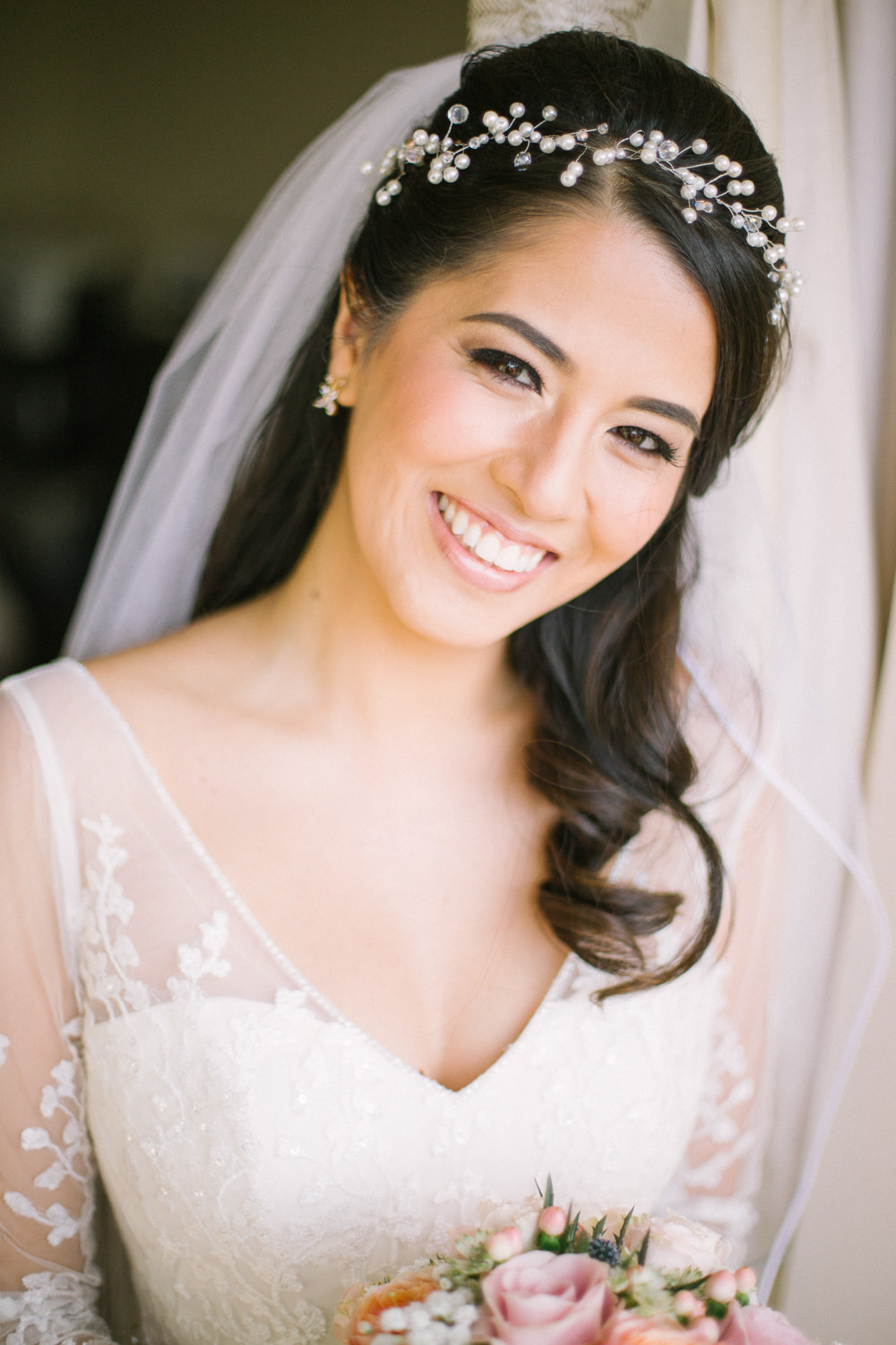 Bride Bridal V Neck Long Sleeve Embroidered Hair Vine Pearl Barn At Barra Castle Wedding Ceranna Photography