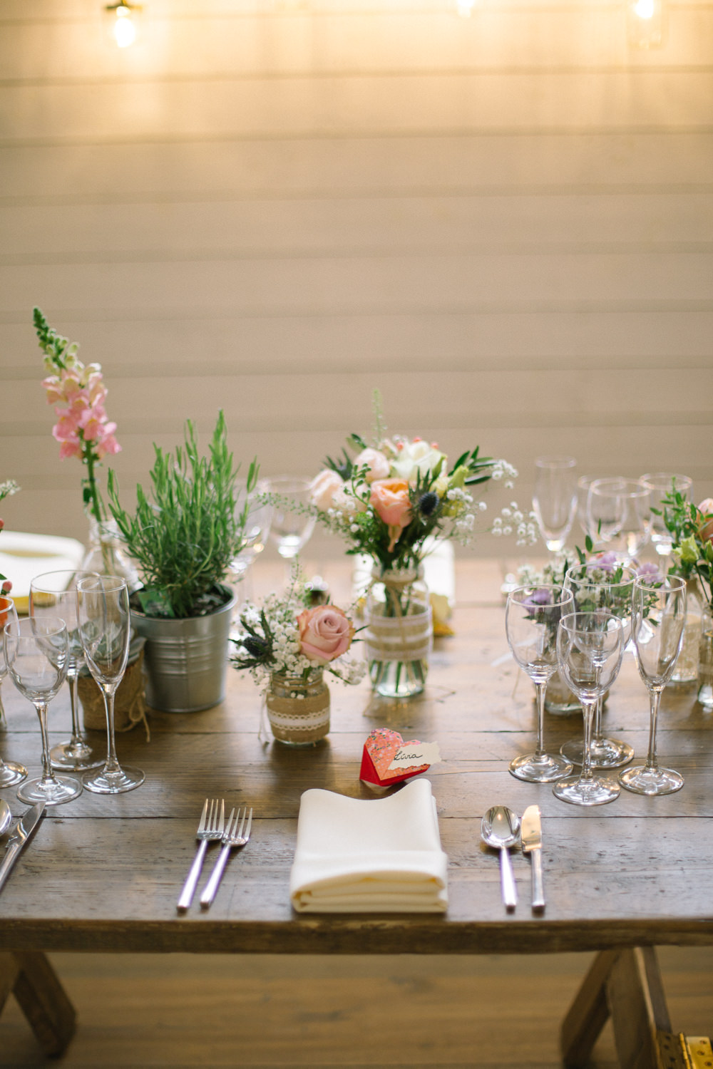 Burlap Hessian Jam Jar Lace Rosemary Flowers Floral Barn At Barra Castle Wedding Ceranna Photography
