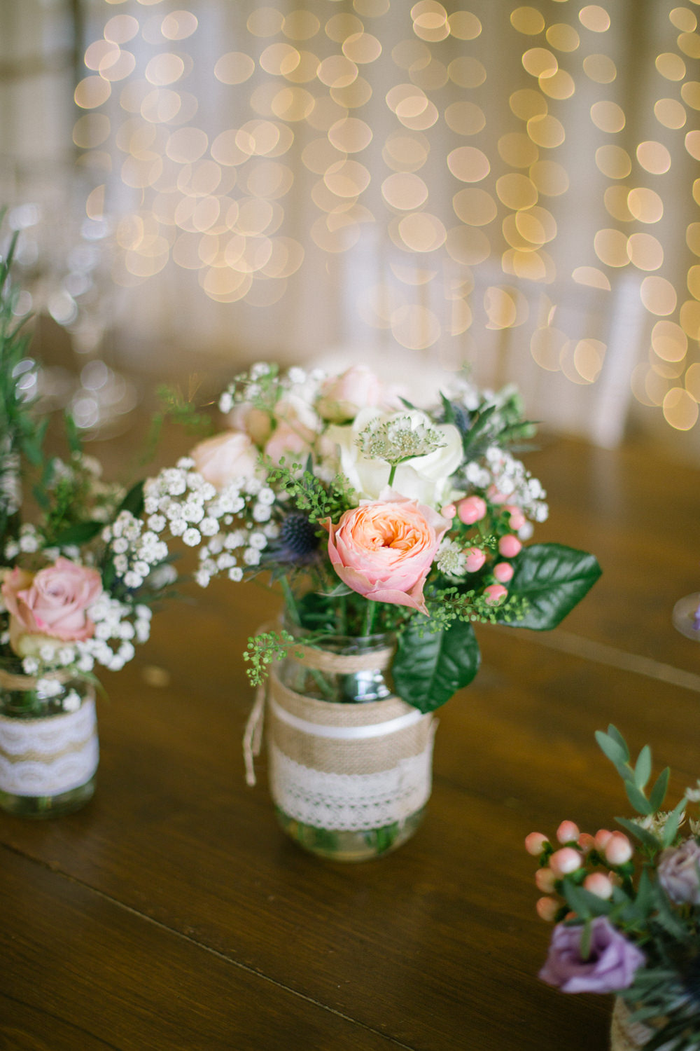 Burlap Hessian Jam Jar Flowers Floral Lace Barn At Barra Castle Wedding Ceranna Photography