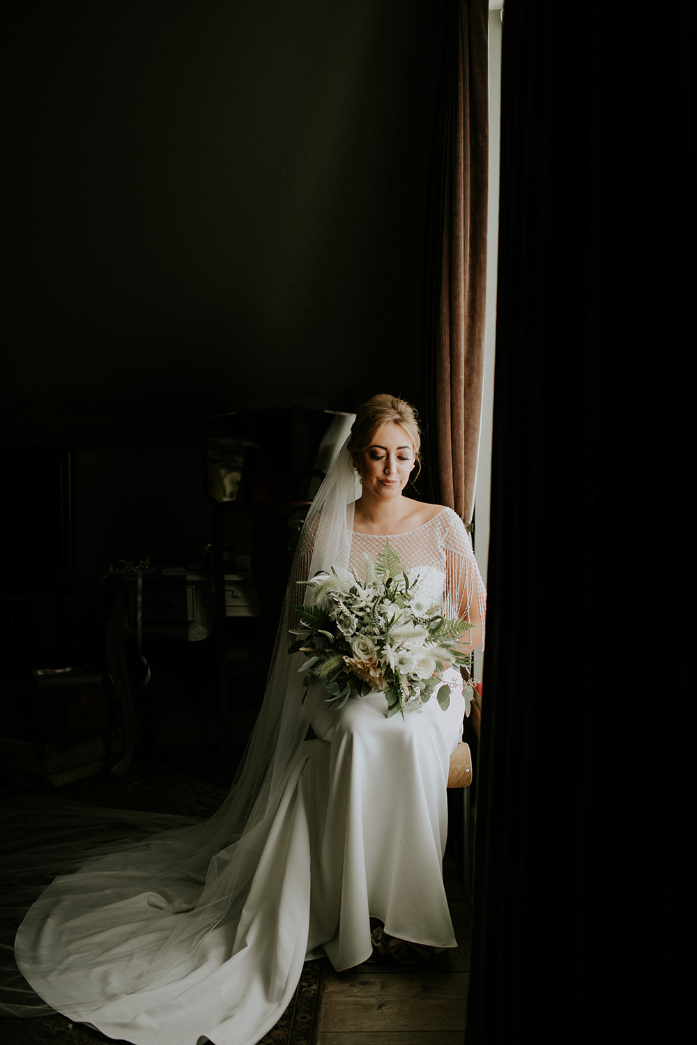 Bride Bridal Dress Gown Sottero and Midgley Tassel Sleeves Back Beaded Fringed Train Bell Ticehurst Wedding Irene Yap Photography