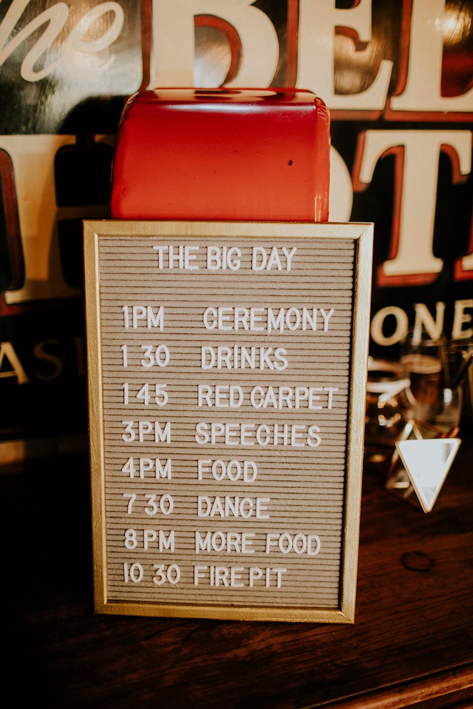 Felt Board Sign Letter Order Day Timings Bell Ticehurst Wedding Irene Yap Photography