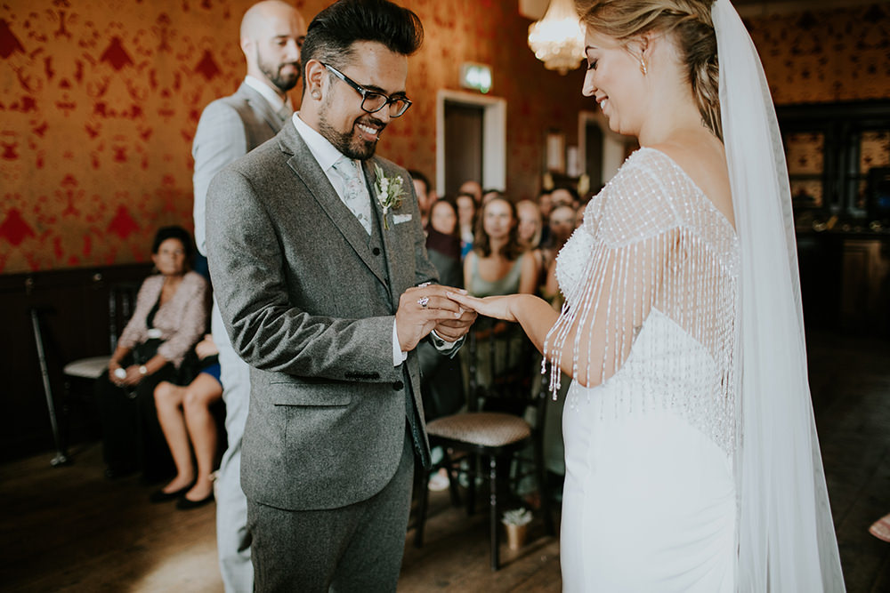 Groom Suit Grey Floral Tie Bell Ticehurst Wedding Irene Yap Photography