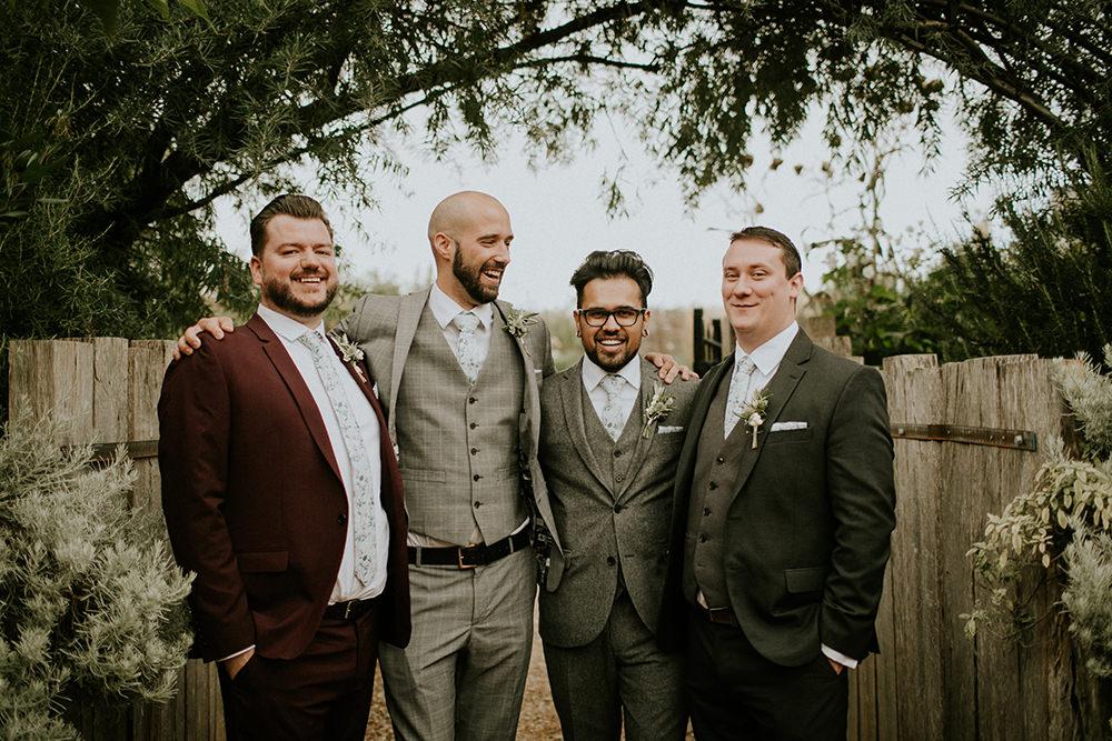 Groom Suit Grey Floral Tie Groomsmen Bell Ticehurst Wedding Irene Yap Photography