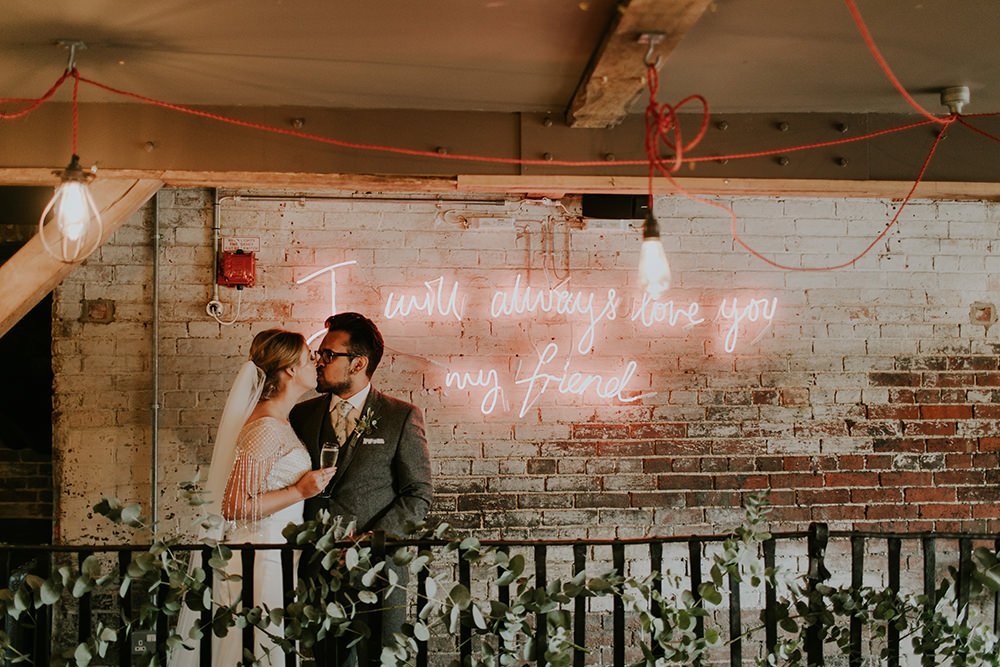 Neon Sign Love Quote Bell Ticehurst Wedding Irene Yap Photography