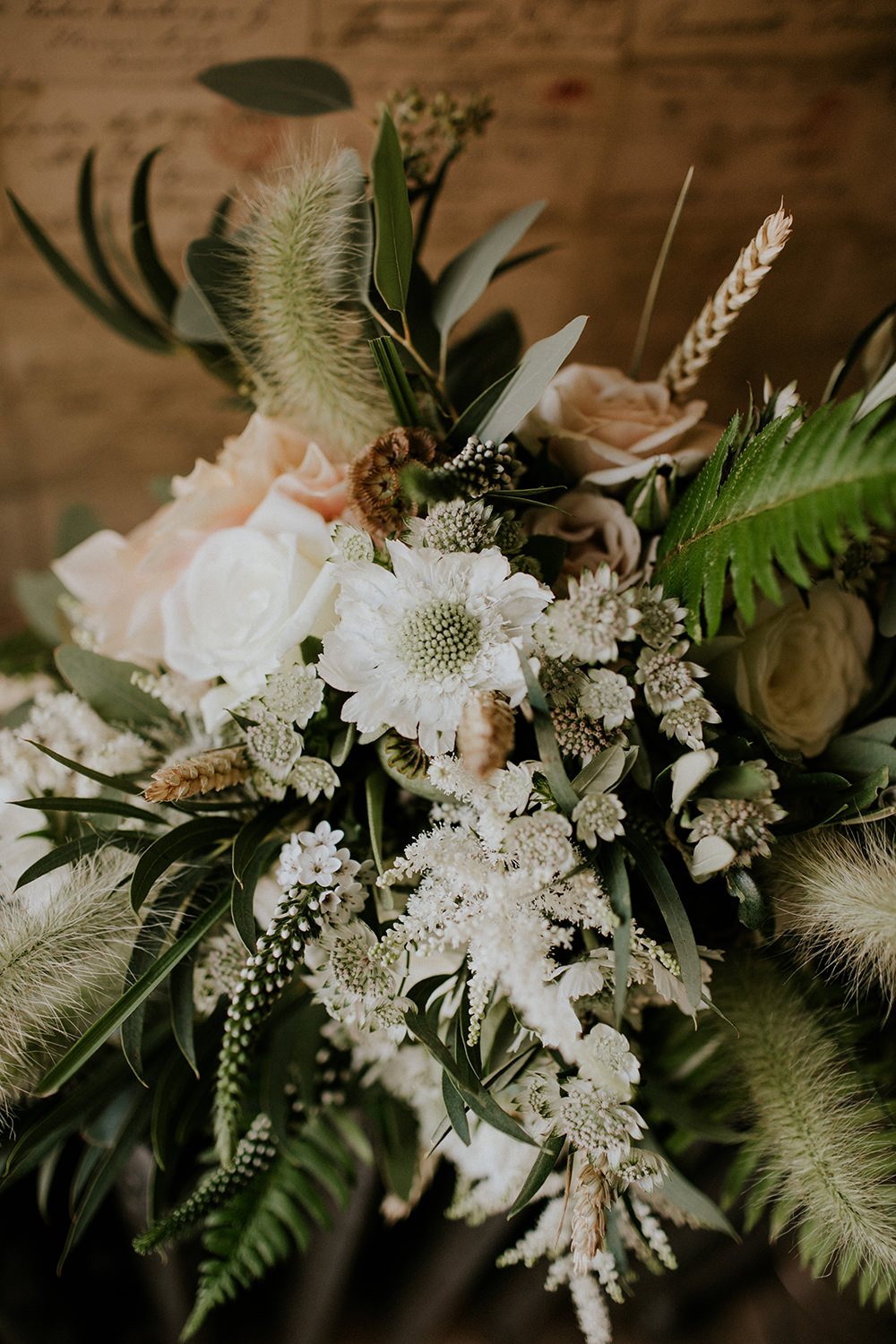 Bride Bridal Bouquet Flowers Greenery Foliage Wheat Fern Rose White Champagne Bell Ticehurst Wedding Irene Yap Photography