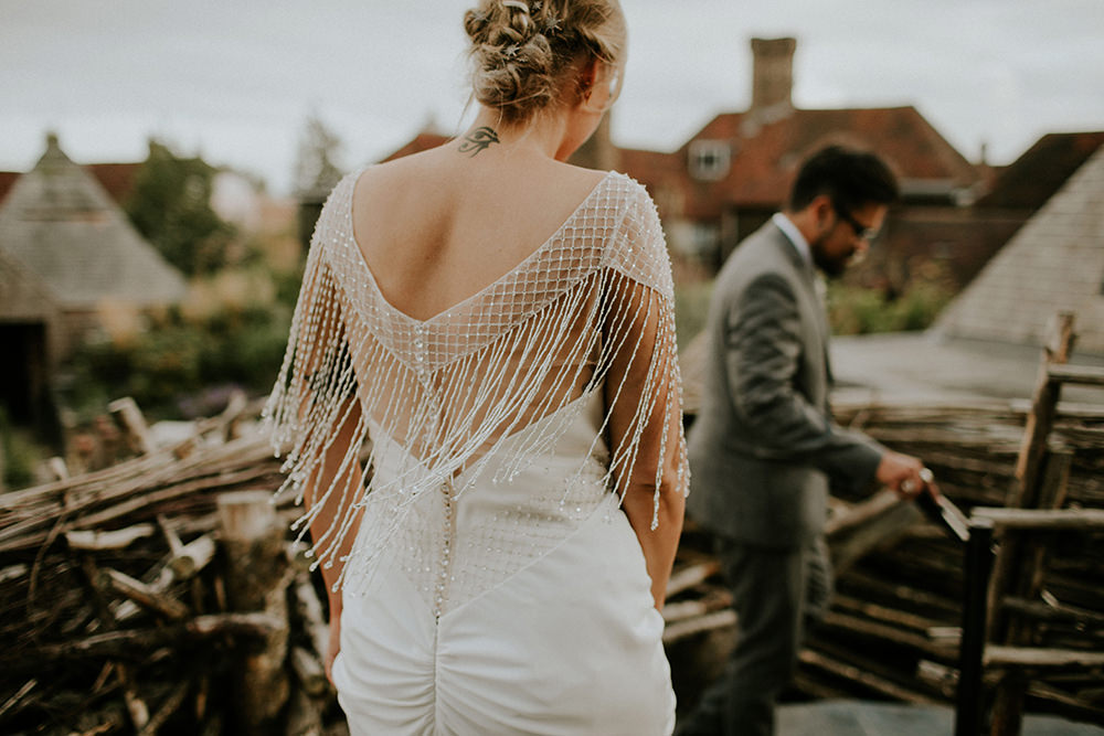 Bride Bridal Dress Gown Sottero and Midgley Tassel Sleeves Back Beaded Fringed Bell Ticehurst Wedding Irene Yap Photography