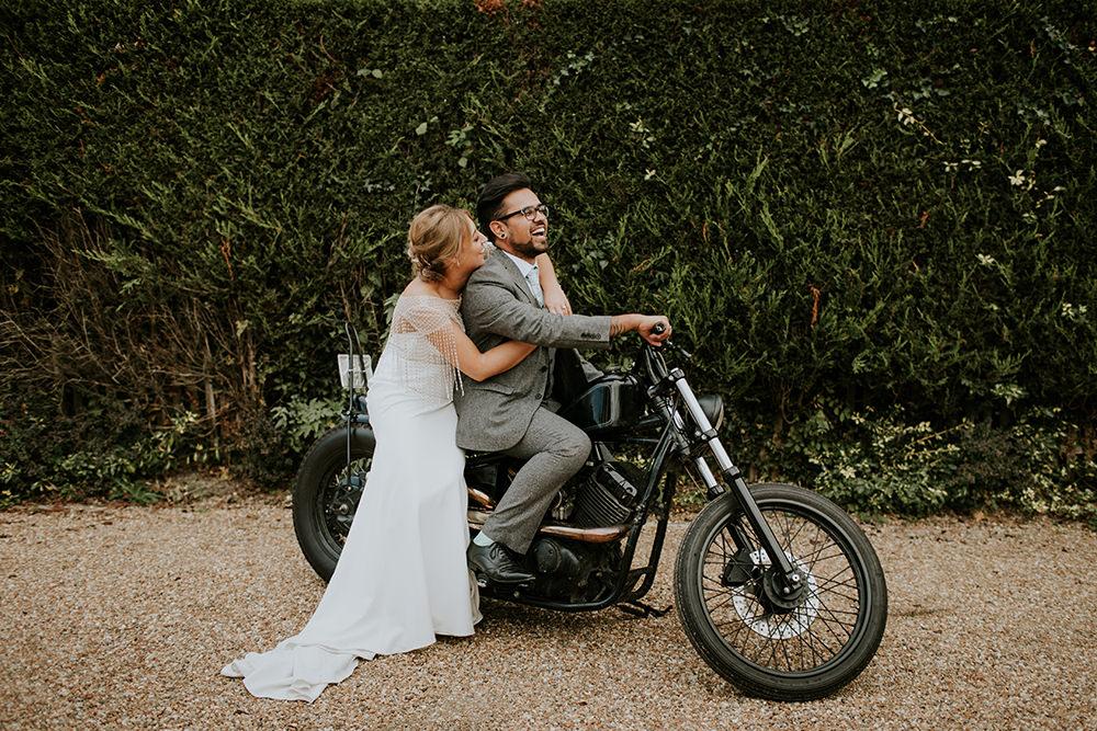 Motorbike Transport Bell Ticehurst Wedding Irene Yap Photography