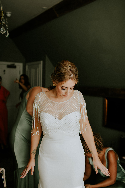 Bride Bridal Dress Gown Sottero and Midgley Tassel Sleeves Back Beaded Fringed Bell Ticehurst Wedding Irene Yap Photography
