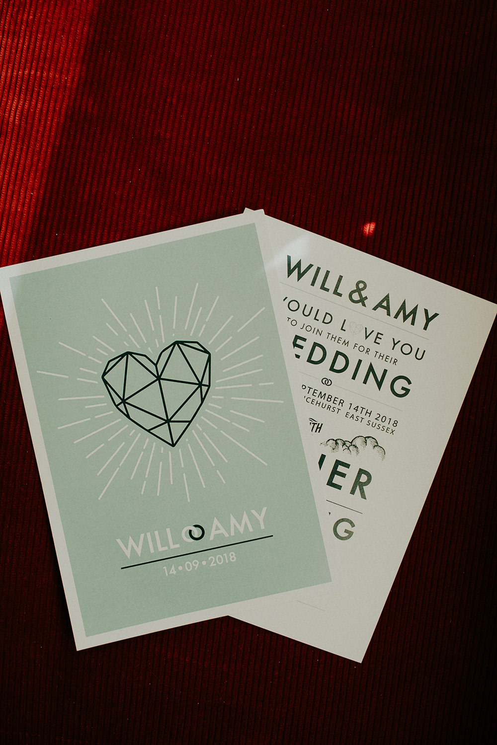 Stationery Invites Invitations Graphic Modern Green Heart Geometric Bell Ticehurst Wedding Irene Yap Photography