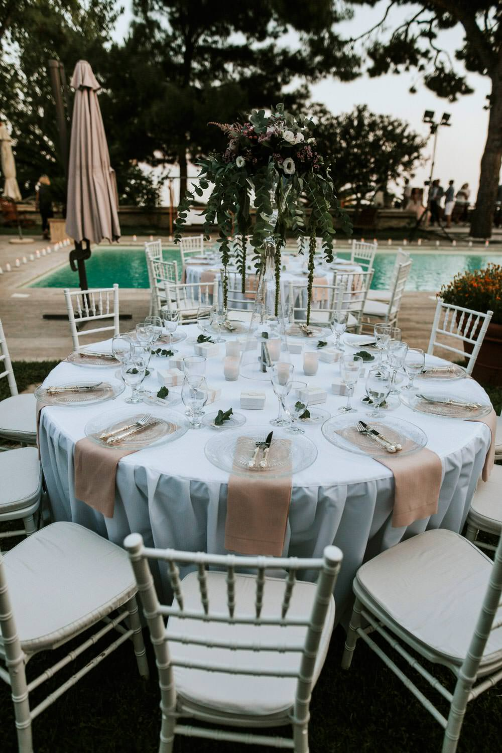 Outdoor Villa Pool Reception Bohemian Beach Greece Destination Wedding Lighthouse Photography