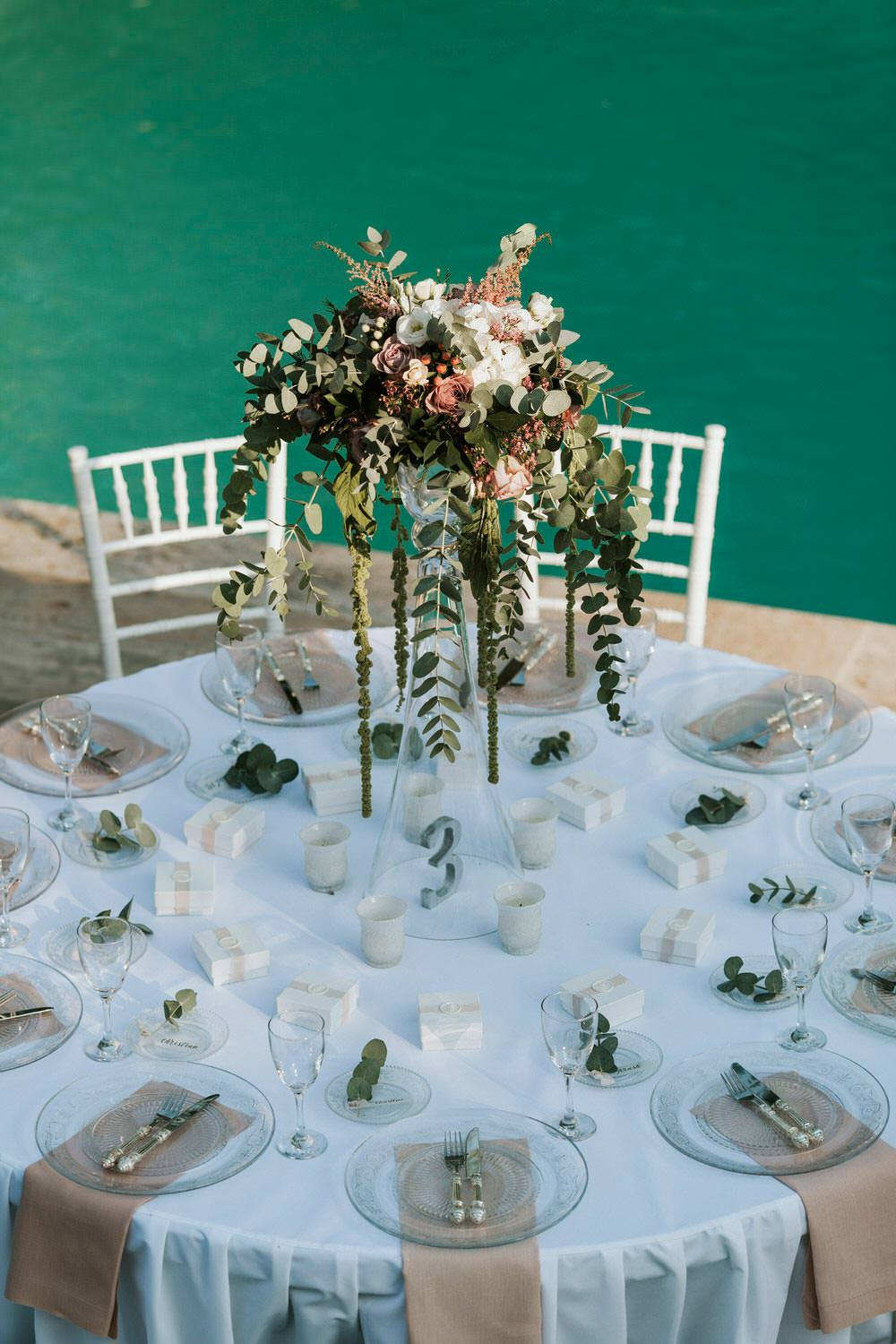 Tall Flower Arrangements Centrepiece Greenery Foliages Trailing Bohemian Beach Greece Destination Wedding Lighthouse Photography