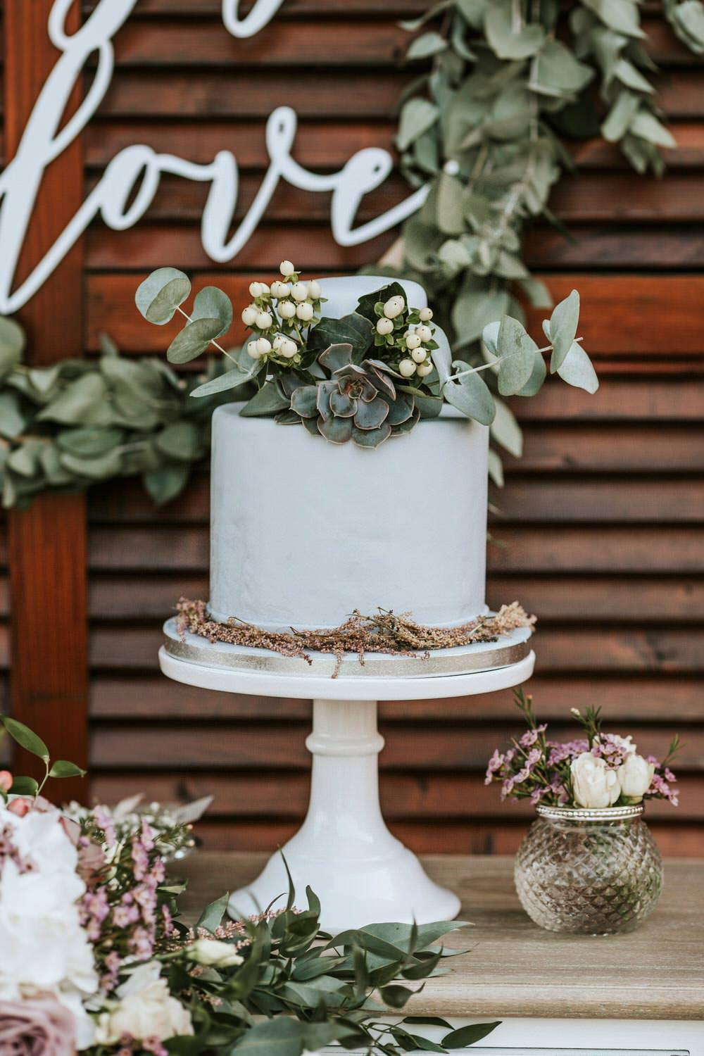 Cake Greenery Foliage Grey Flowers Succulent Stand Bohemian Beach Greece Destination Wedding Lighthouse Photography