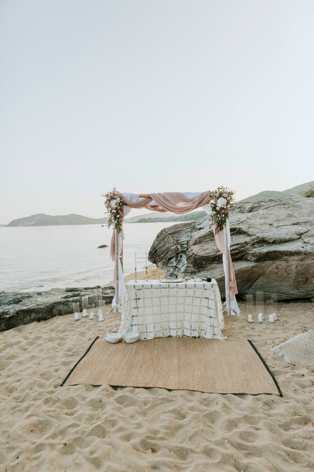 Ceremony Backdrop Aisle Fabric Flowers Arch Bohemian Beach Greece Destination Wedding Lighthouse Photography