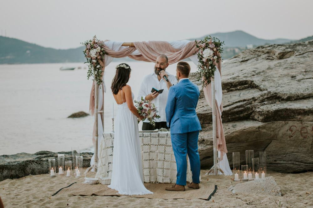 Ceremony Bohemian Beach Greece Destination Wedding Lighthouse Photography
