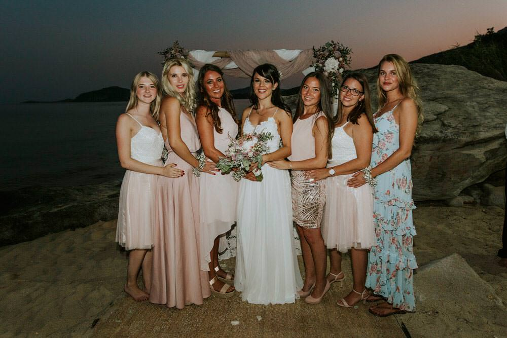 Bridesmaids Pink Blush Dresses Bohemian Beach Greece Destination Wedding Lighthouse Photography