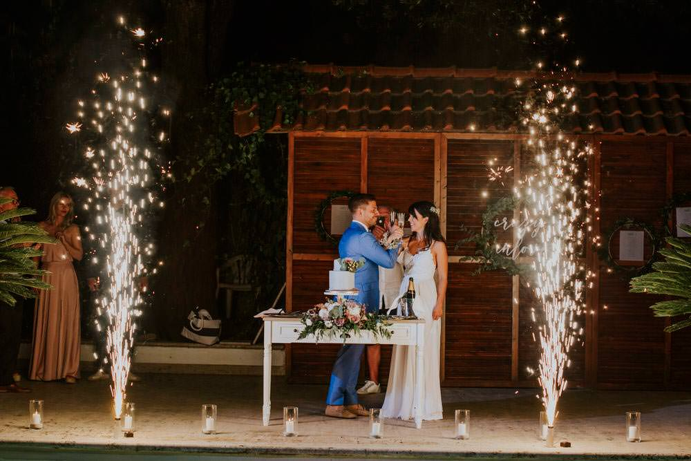 Fireworks Bohemian Beach Greece Destination Wedding Lighthouse Photography