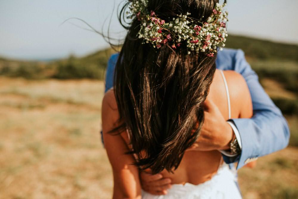 Bride Bridal Hair Flowers Loose Waves Half Up Down Bohemian Beach Greece Destination Wedding Lighthouse Photography