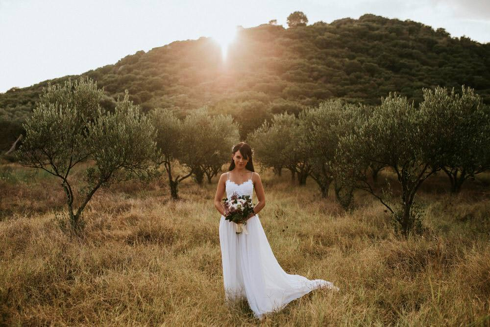 Dress Gown Bride Bridal Grace Loves Lace Tara Straps Train Bohemian Beach Greece Destination Wedding Lighthouse Photography