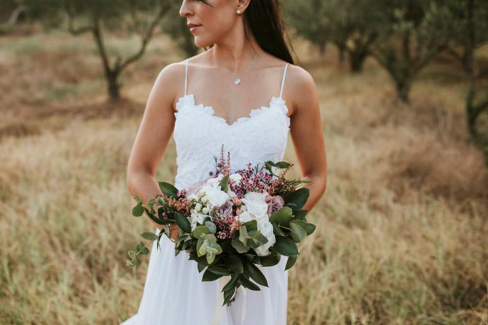 Bouquet Flowers Bride Bridal Pink Greenery Foliage Astilbe Rose Berry Bohemian Beach Greece Destination Wedding Lighthouse Photography