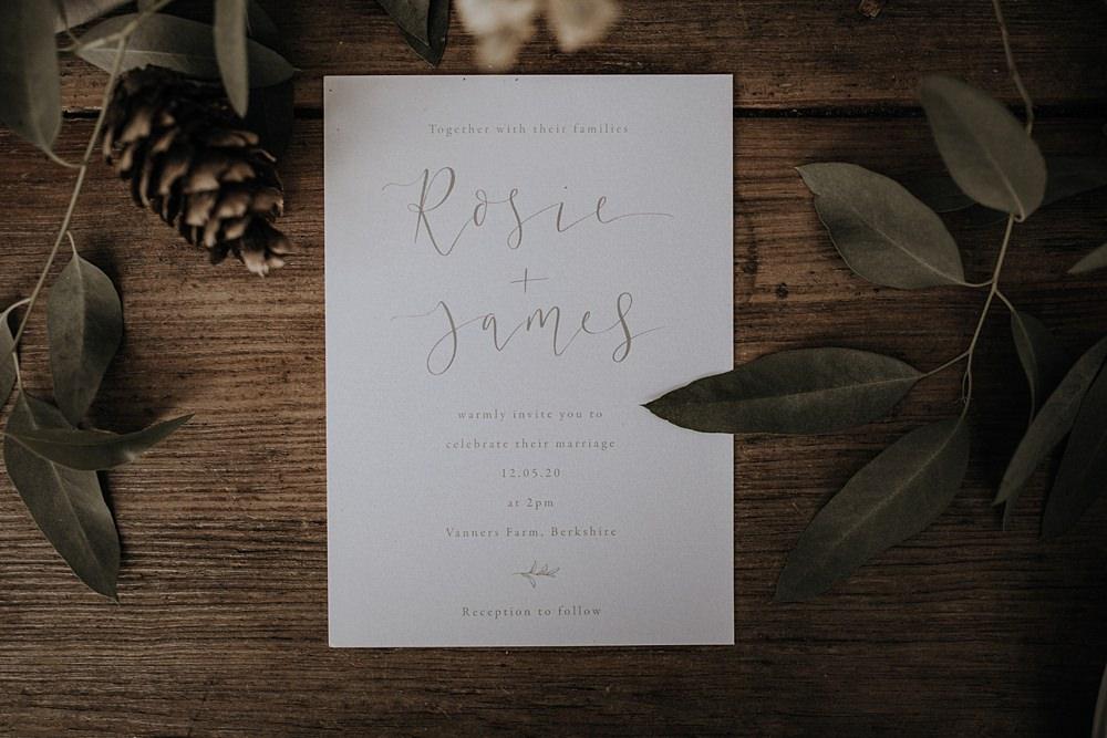 Grey Calligraphy Stationery Invite Invitations Bohemian Woodland Wedding Ideas Lola Rose Photography