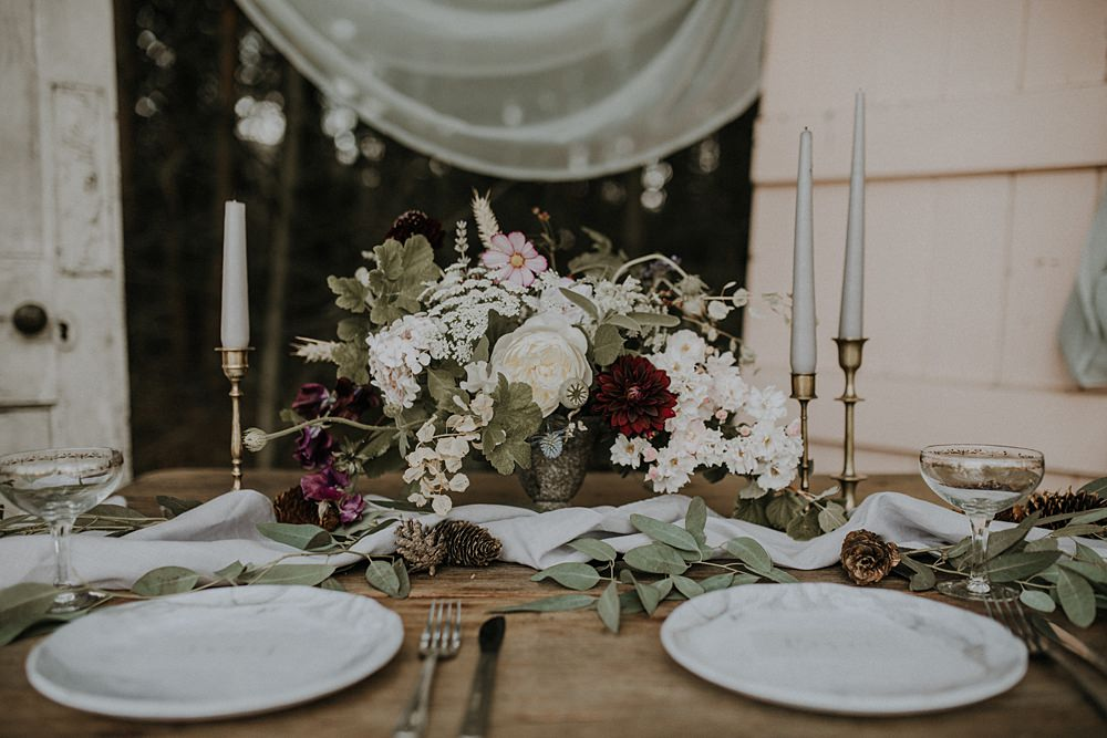 Table Flowers Tablescape Wild Natural Arrangement Candles Bohemian Woodland Wedding Ideas Lola Rose Photography