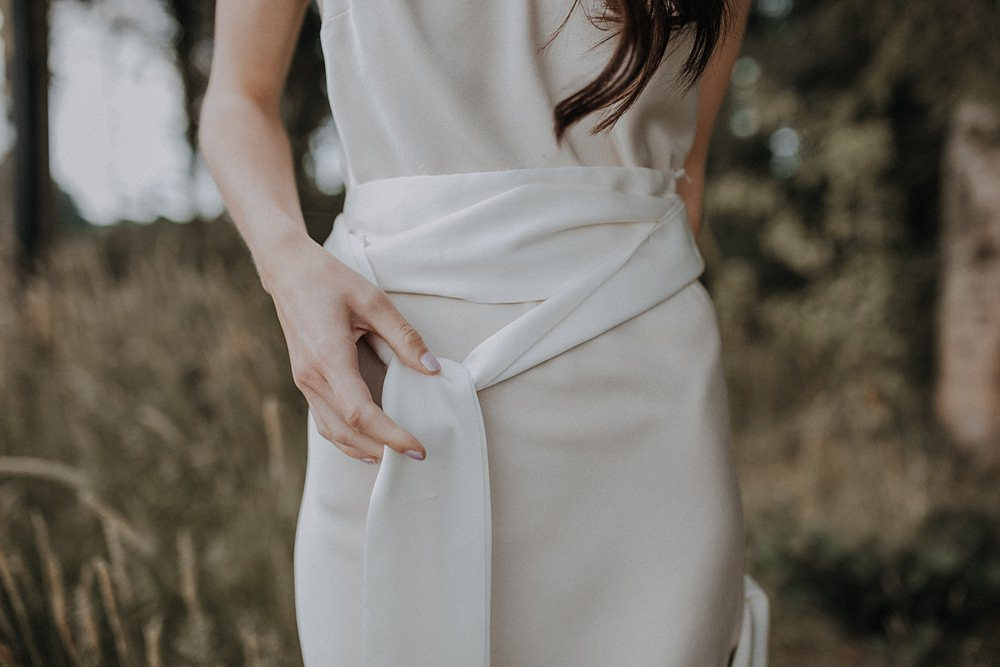 Dress Gown Bride Bridal Silk Modern Simple Elegant Belt Bohemian Woodland Wedding Ideas Lola Rose Photography
