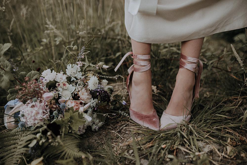 Pink Blush Velvet Shoes Tie Ribbon Bohemian Woodland Wedding Ideas Lola Rose Photography