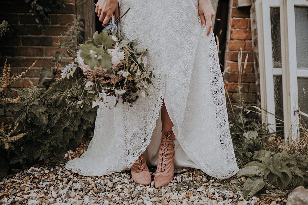 Bride Bridal Boots Lace Up Blush Pink Bohemian Woodland Wedding Ideas Lola Rose Photography