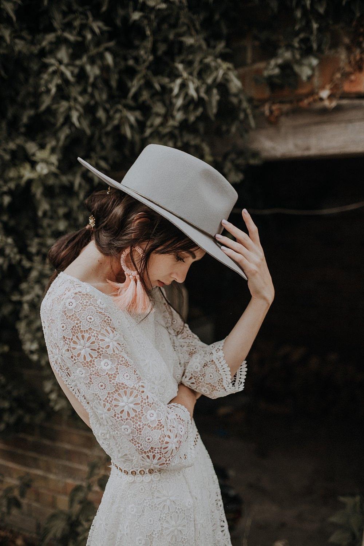 Bride Bridal Fedora Hat Grey Accessory Bohemian Woodland Wedding Ideas Lola Rose Photography