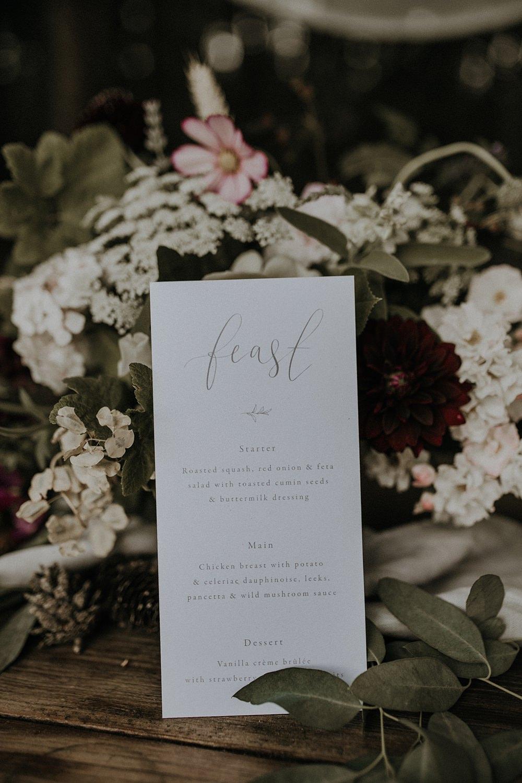 Menu Stationery Calligraphy Grey Bohemian Woodland Wedding Ideas Lola Rose Photography