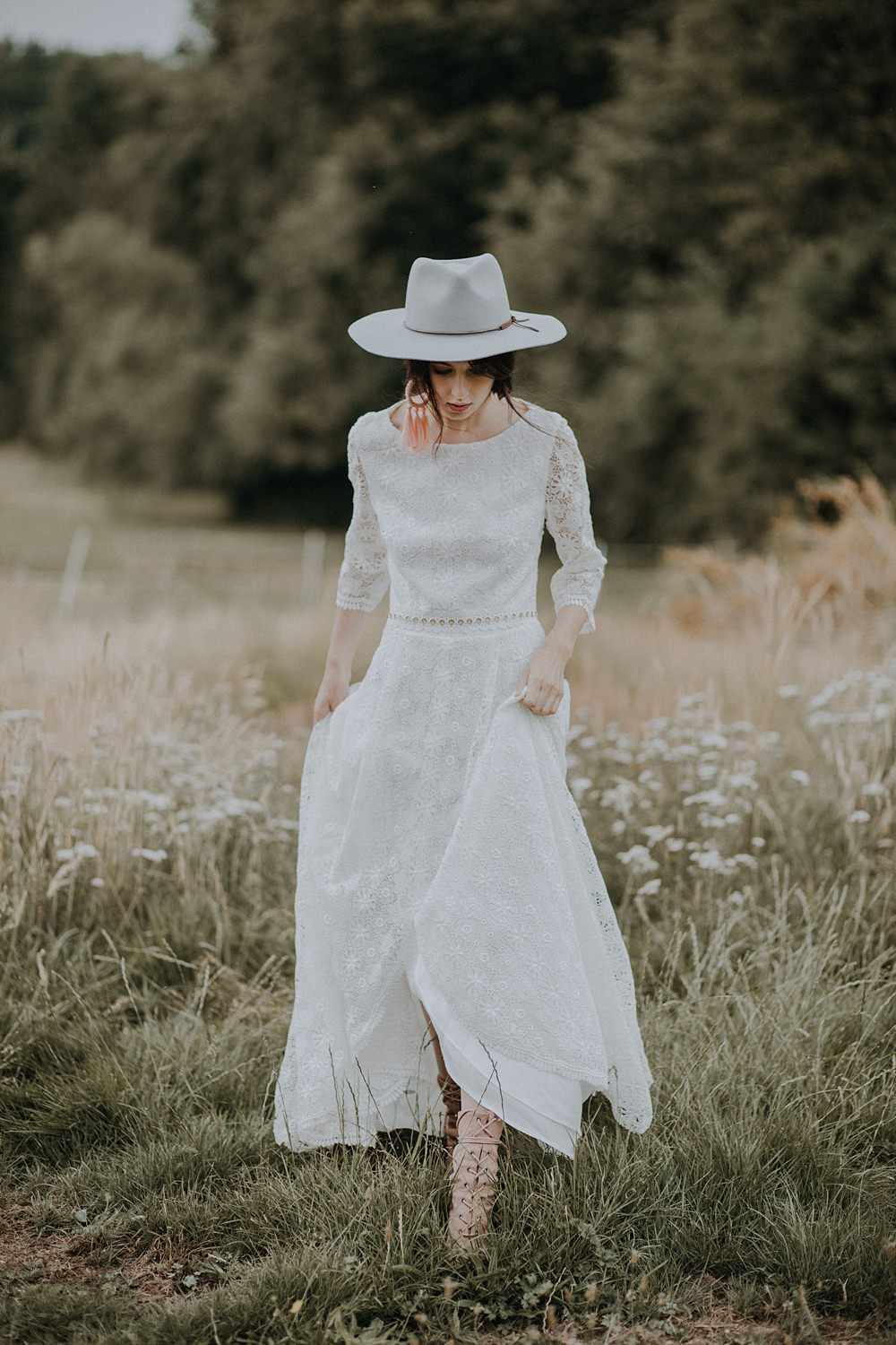 Dress Gown Bride Bridal Crochet Lace Sleeves Open Back Bohemian Woodland Wedding Ideas Lola Rose Photography