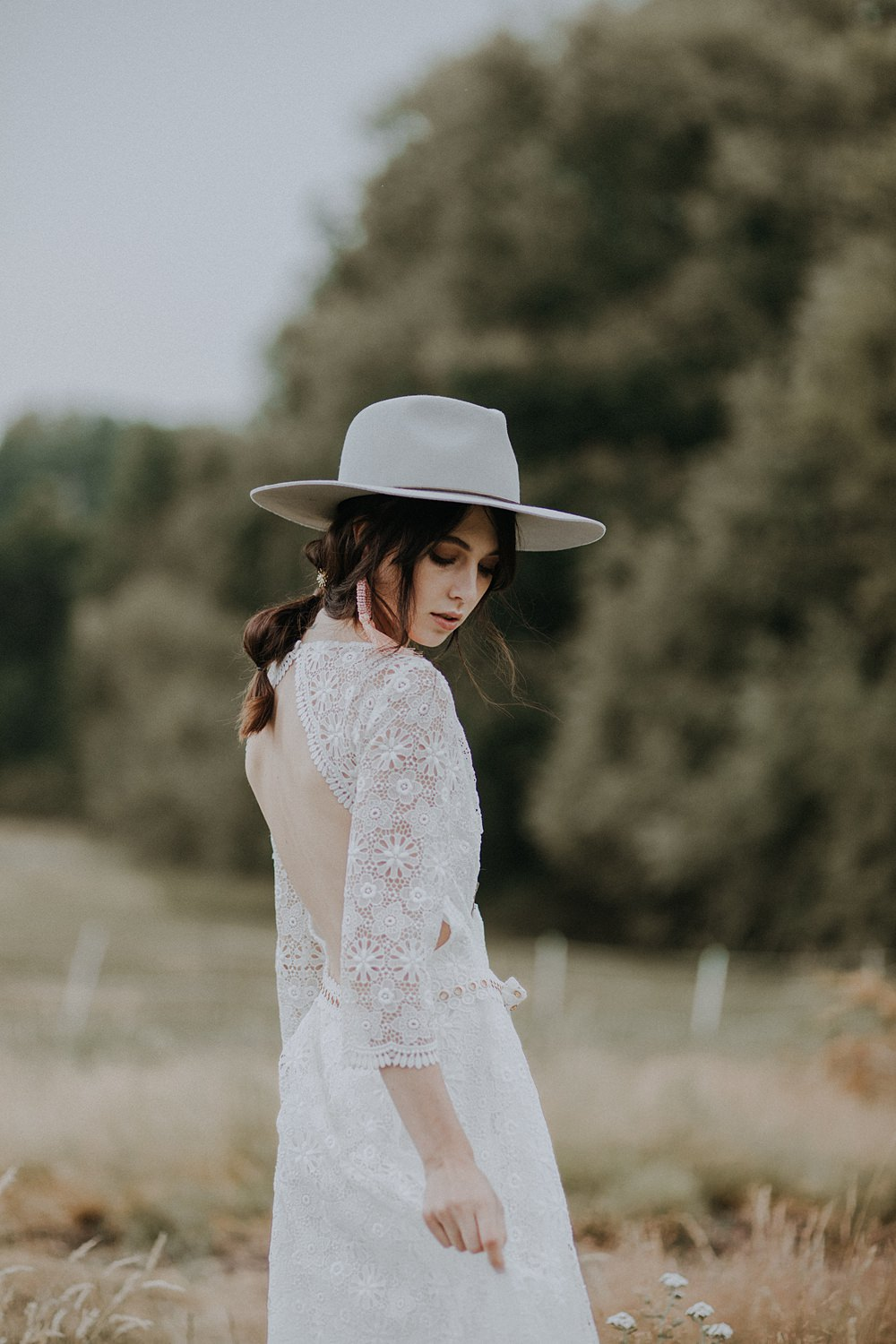 Dress Gown Bride Bridal Crochet Lace Sleeves Open Back Fedora Hat Bohemian Woodland Wedding Ideas Lola Rose Photography