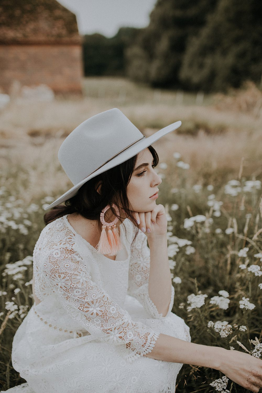 Bride Bridal Fedora Hat Grey Accessory Tassel Earrings Bohemian Woodland Wedding Ideas Lola Rose Photography